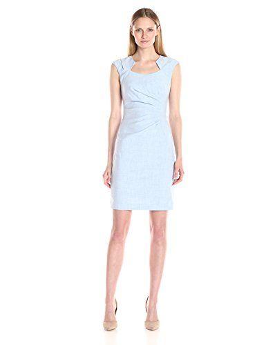 Calvin Klein Women S Heatherd Side Ruched Dredd Dresses For Work Work Dresses For Women Classic Sheath Dress