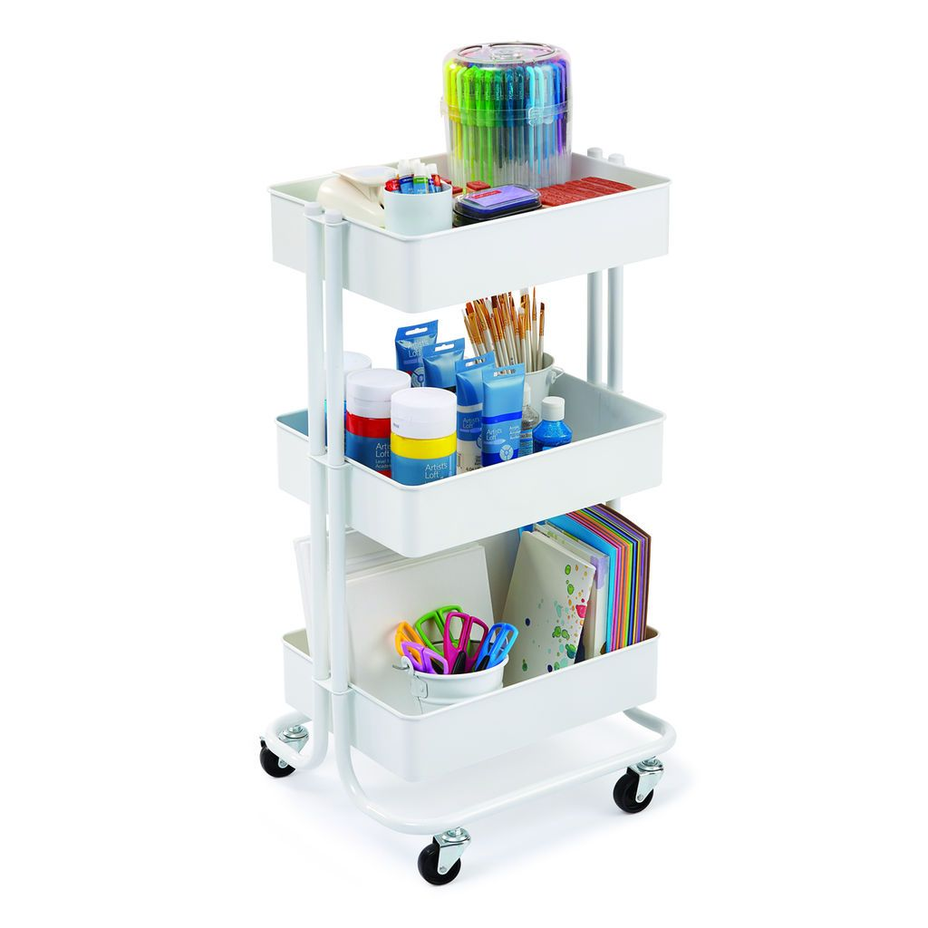 Rolling craft cart with drawers - Get The White Lexington 3 Tier Rolling Cart By Recollections At Michaels Com