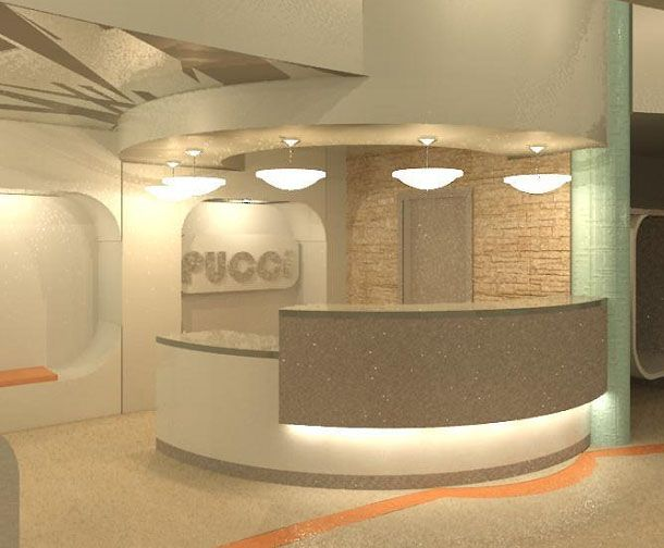 Interesting curve/lighting  From pinner: Love the cash wrap