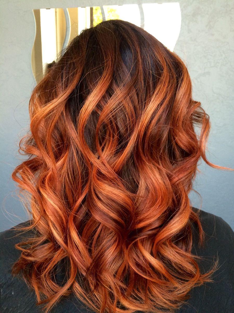 Pretty Red Copper Balayage Hair Done By Sonja Bush Eureka Ca Copper Hair Color Medium Length Hair Styles Hair