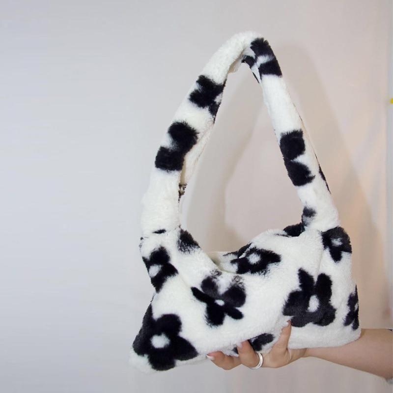 Retro Leopard Print Crossbody Bag,Women Plush Faux Fur Clutch,Vintage Large Capacity Fluffy Plush Handbags