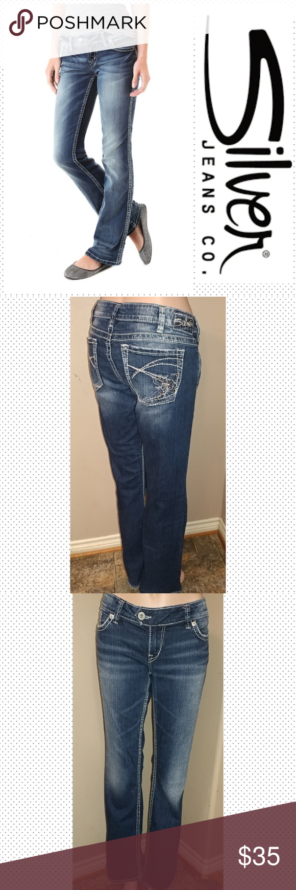 "Silver Tuesday 31x33 Silver Tuesday Boot cut jeans size 31, inseam 33"", rise 7.5, waist laid flat 17"". Distressing on pockets and hem. Great condition. First picture for reference. Silver Jeans Jeans Flare & Wide Leg"