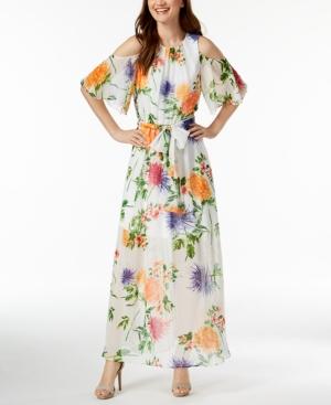 16d69d6d450d Calvin Klein Floral-Print Chiffon Maxi Dress - White 10   Products