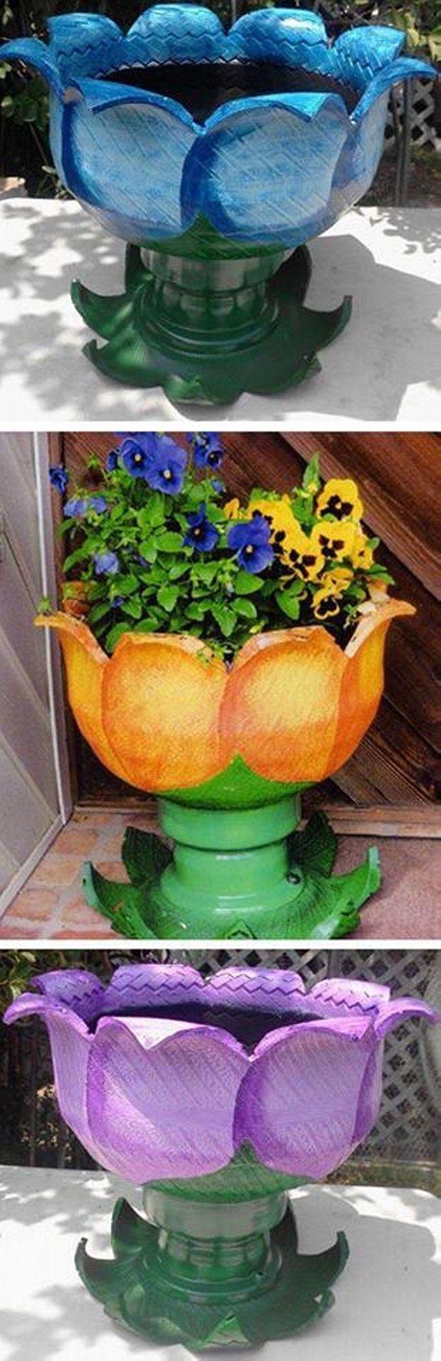 Pot De Fleur Avec Des Pneus different crafts made with old tires | projets de jardins