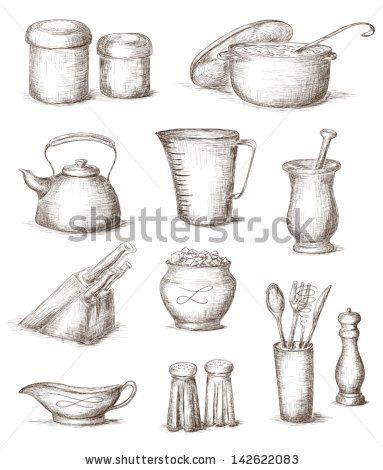 Hand Drawn Illustration Of Kitchen Utensils