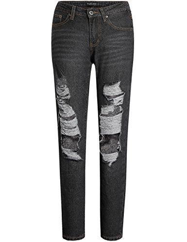 Camii Mia Jeans Denim Femme Déchiré Relaxed Fit Taille Moyenne Casual (W29  x L30 Noir b66f9c6dc25