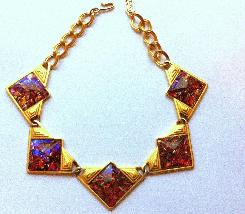Yves saint laurent dichroic pink glass cabochon stone necklace