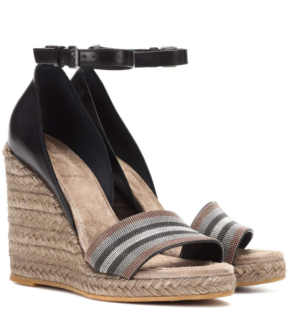 Ankle · BRUNELLO CUCINELLI Leather espadrille wedge sandals.