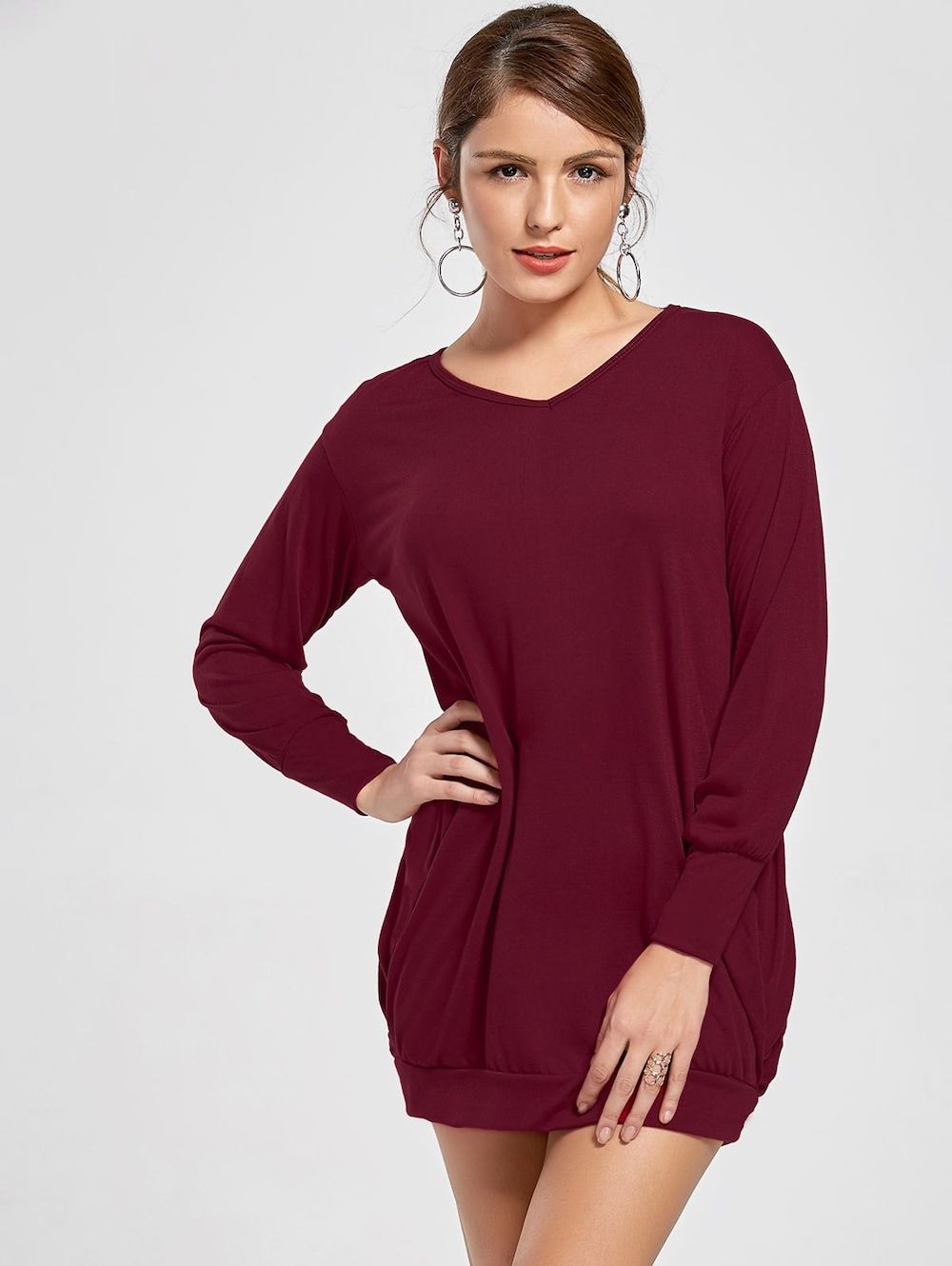 Stylish Plunging Neck Long Sleeve Pocket Design Solid Color Women s Dress -  WINE RED XL 146e7c0f7947