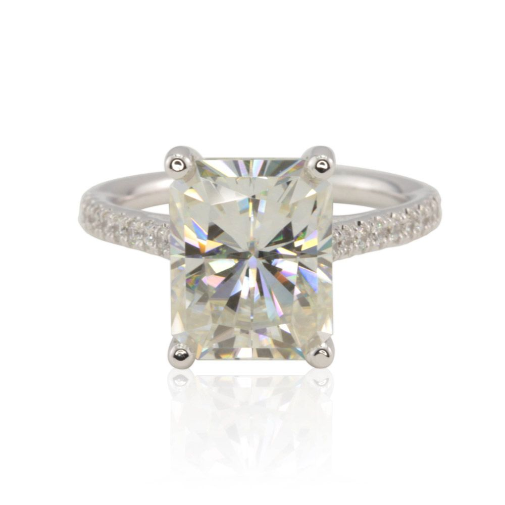 Radiant Moissanite Engagement Ring with Cathedral Diamond Shank LS4465 15e5d4e8f3