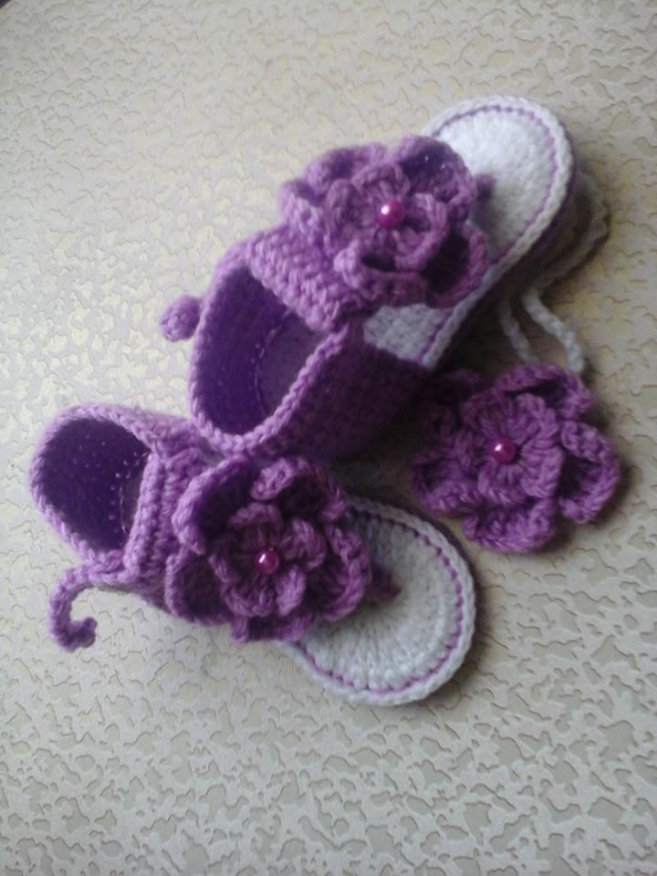 Sally's Fancy Crafts -baby sandals with headband