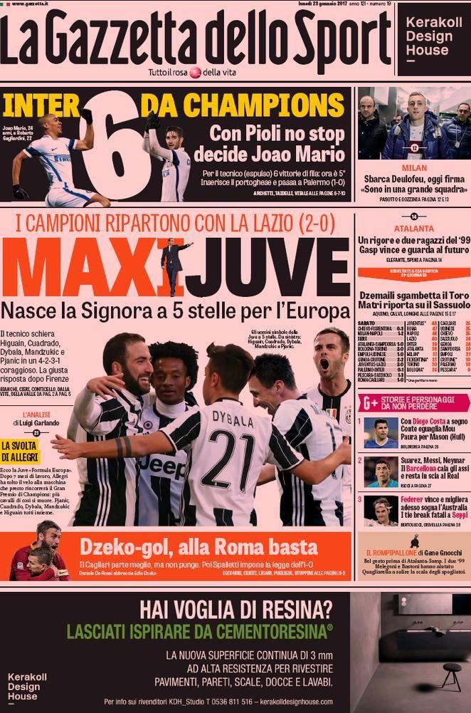 Prima Pagina La Gazzetta dello Sport 23/01/2017 Sport