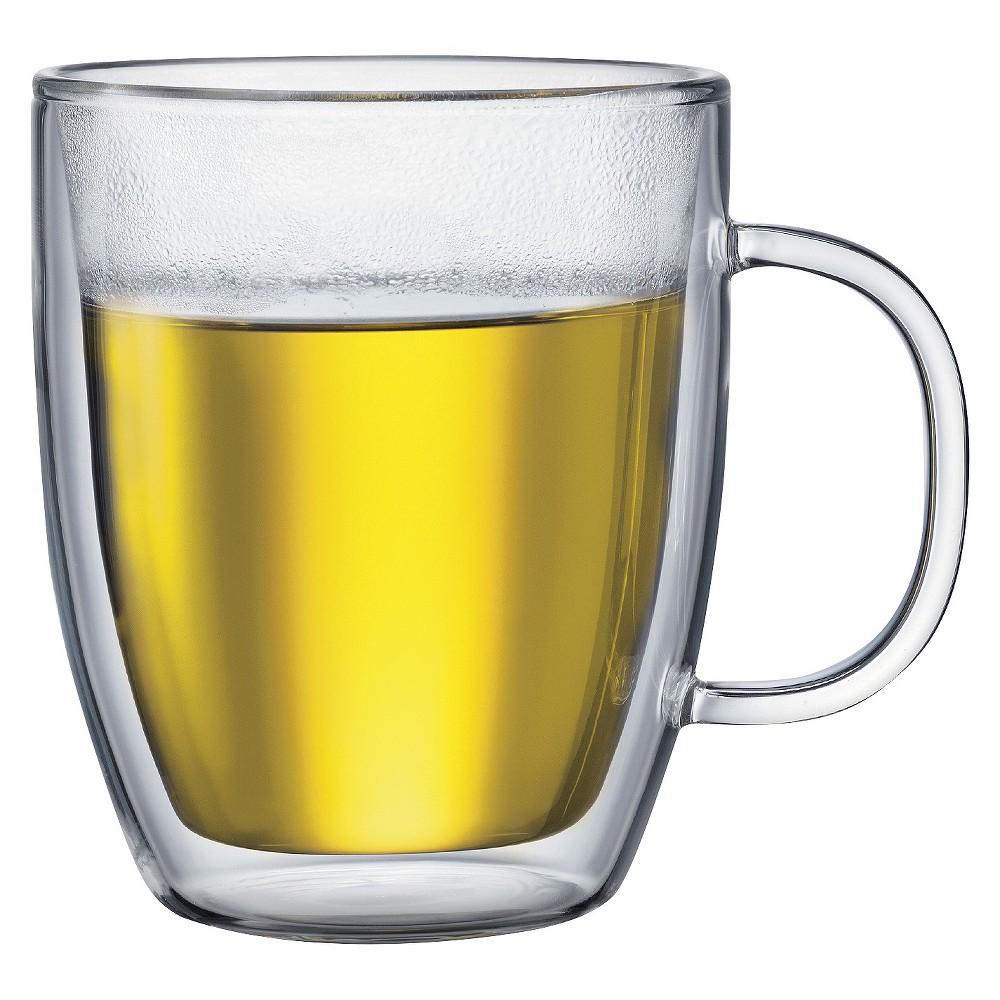 Bodum Bistro Double Wall Glass Mug Set Of 2 15 Oz Clear