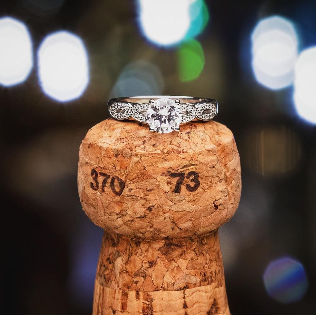 14k White Gold Infinity Diamond Engagement Ring