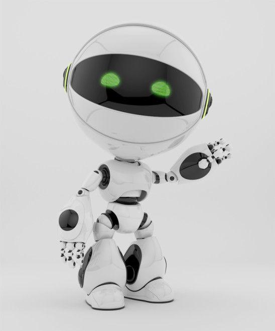 white circle robot greeting