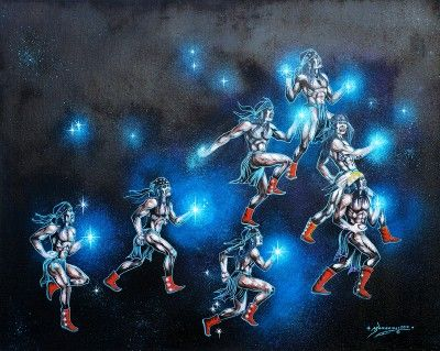 Limited Edition: Hard Flint Boys, The Pleiades  Acrylic and Oil on Stretched Canvas 18x24 gGiclée Price: $185.00