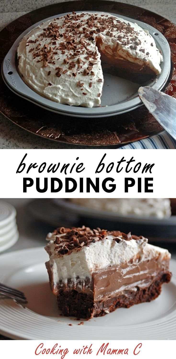 Homemade Chocolate Pudding Pie with Brownie Crust