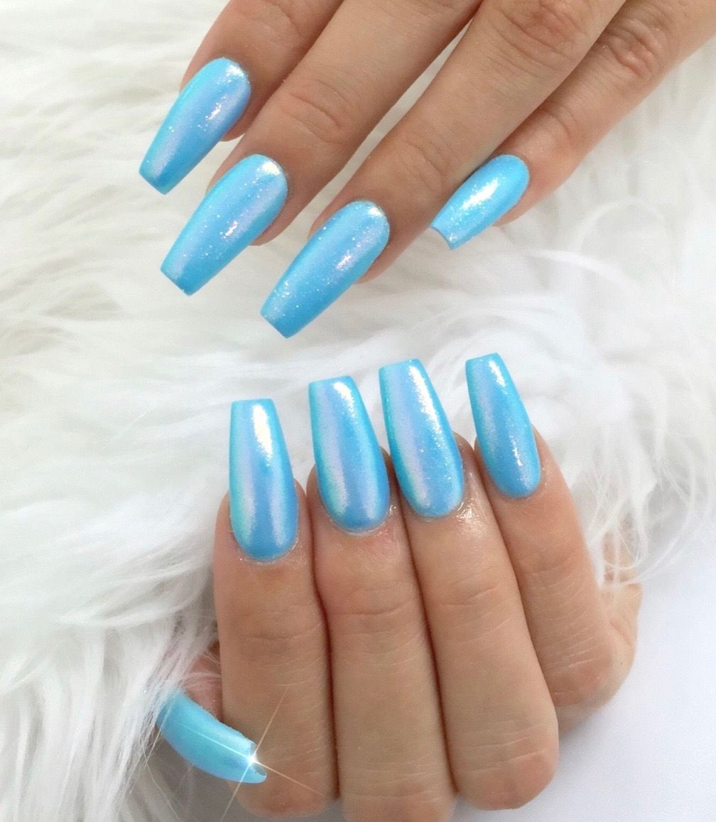 Icy Blue Holographic Nails Holographic Nail Designs Teal Nails