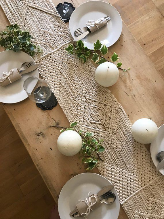 Macrame Table Runner / Handmade Wedding Decor / Boho Chic / Aztec Bohemian / Cotton Yarn Tapestry / Weave / Crochet / MADE TO ORDER #ceremonyideas