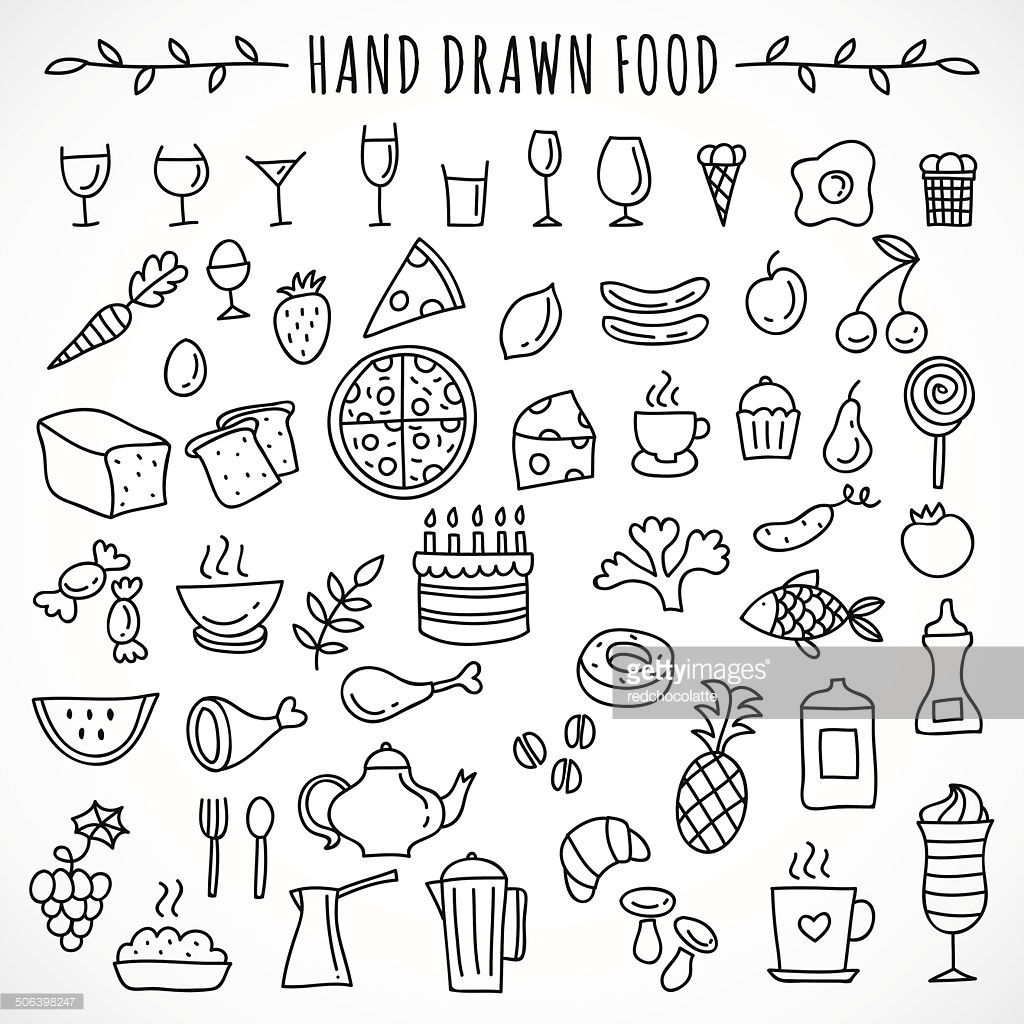 Hand Drawn Set Of Food Icons Ideas Drawings Doodles Bullet Journal