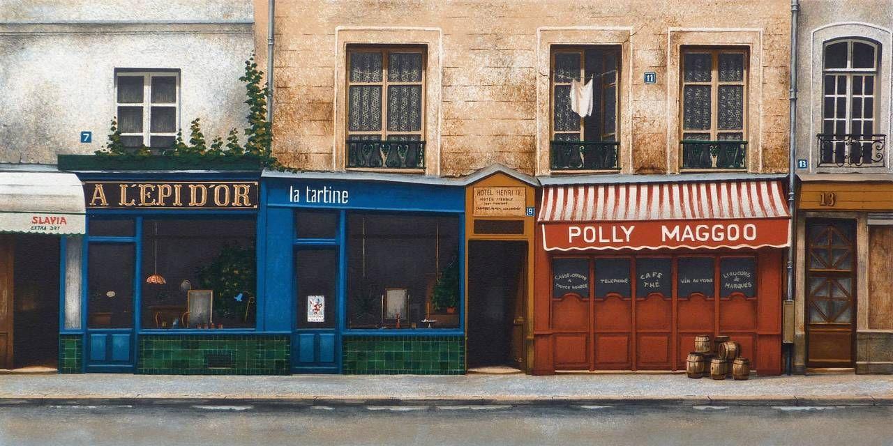Andre Renoux Landscape Print Polly Maggoo Rue Saint Jacques