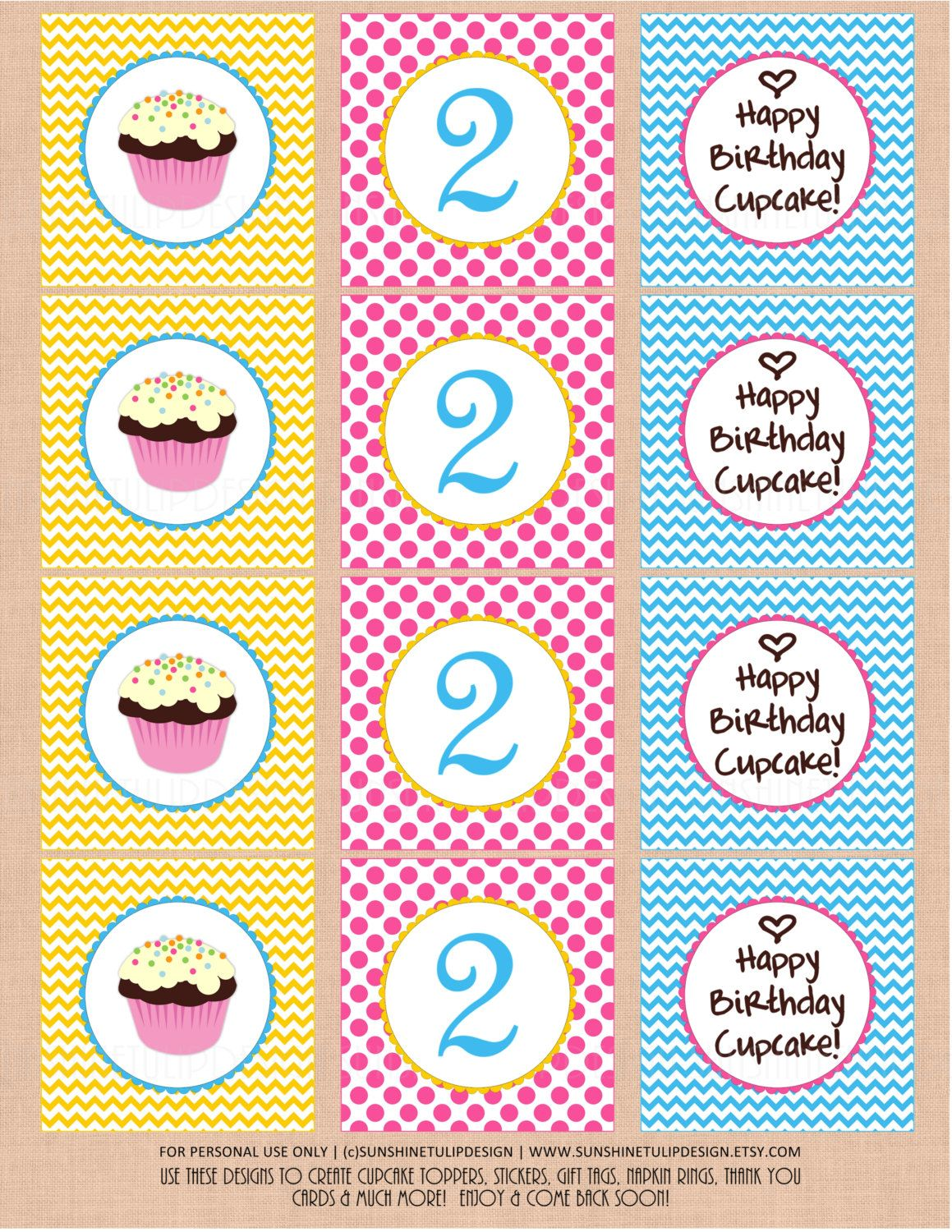 Printable 2nd Birthday Cupcake Toppers Happy Gift Tags By SUNSHINETULIPDESIGN Sunshinetulipdesign On Etsy