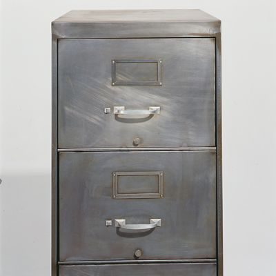 Stripped Bare And Pummelled With Walnut Shells Vintage Metal - Cool filing cabinet