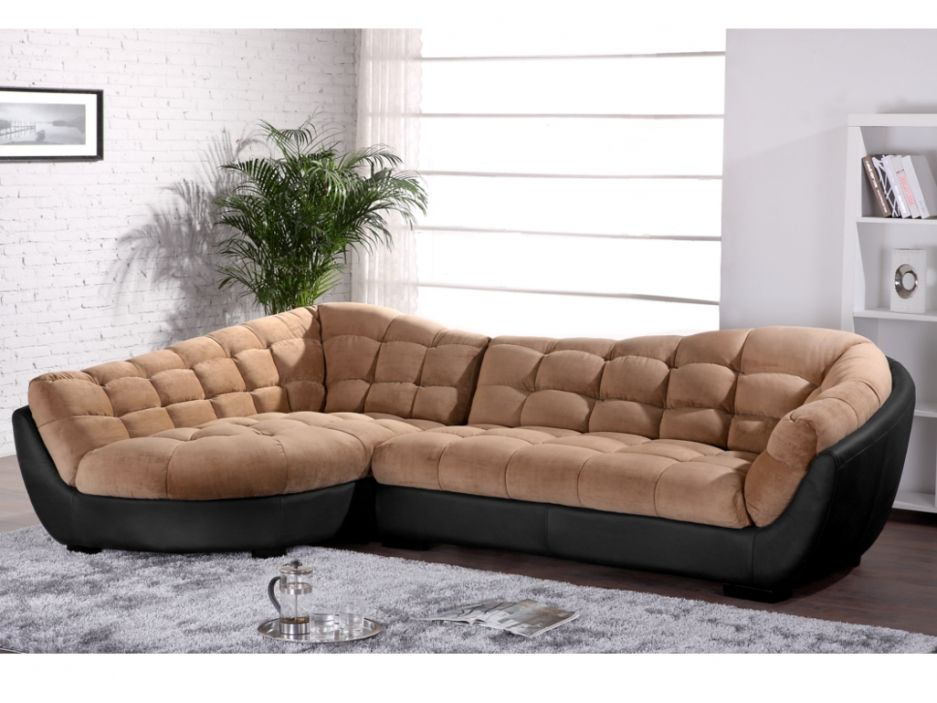 canap d 39 angle tissu et cuir leandro caramel et noir angle gauche. Black Bedroom Furniture Sets. Home Design Ideas