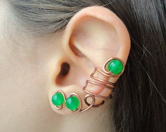 Nephrite jade statement earcuff copper gemstone / Fake piercing adjustable jacket ear cuff pair / Cartilage earrings non pierced climber