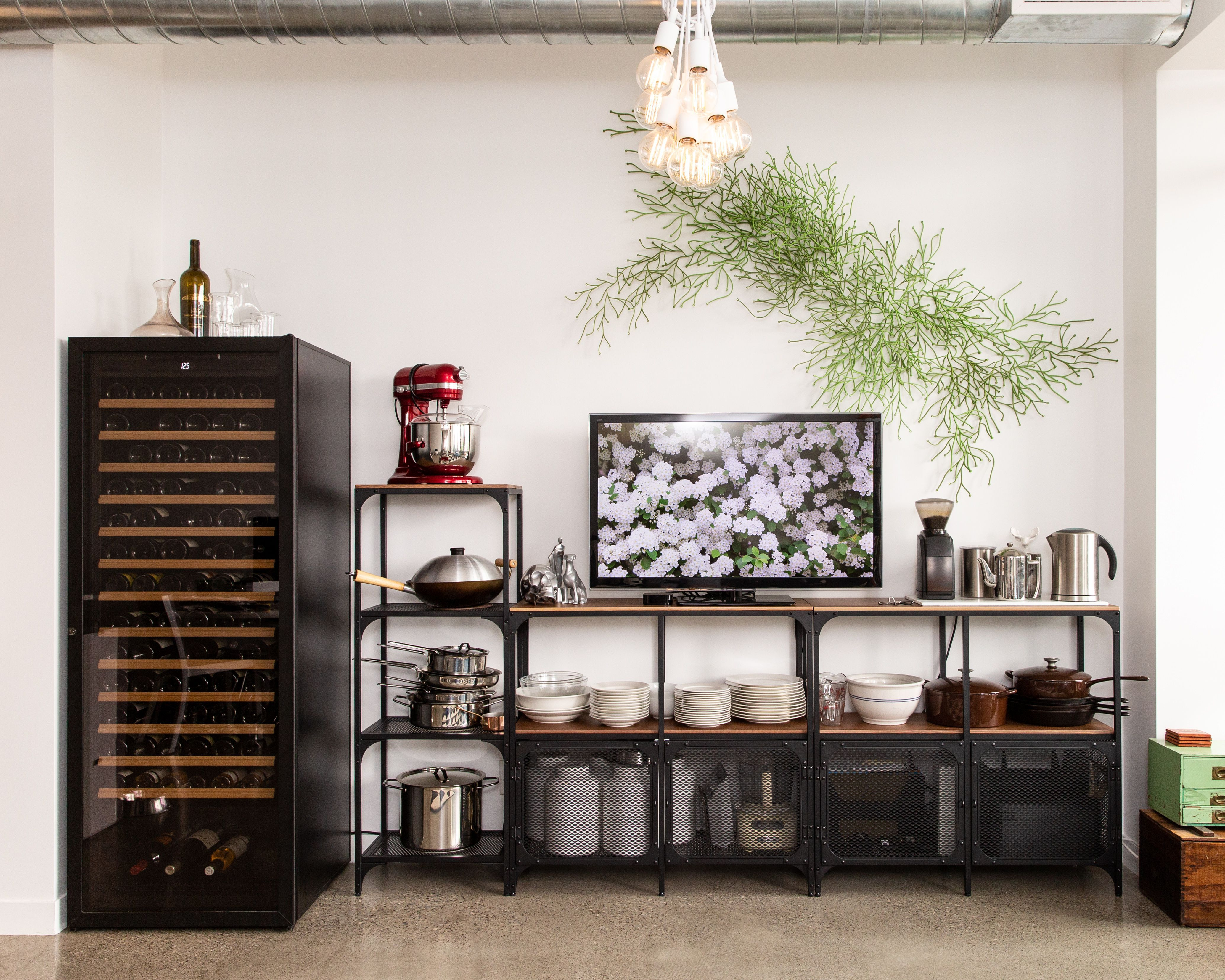 Our Boho Chic Toronto Loft Living Room With Polished Concrete Floors Shelving Units Ikea Fjallbo Wine Cel Ikea Living Room Living Room Loft Ikea Dining Room [ 3310 x 4138 Pixel ]