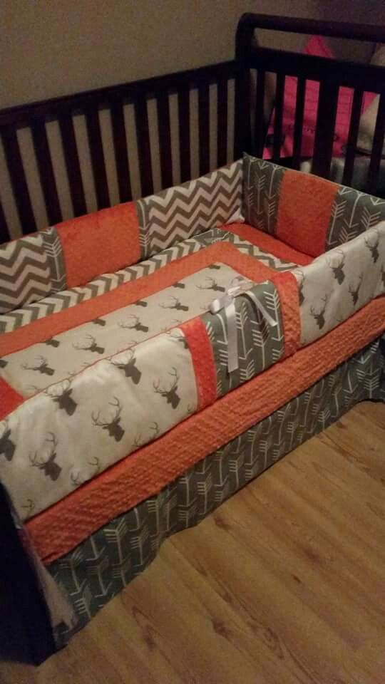 Gray Deer Head With Orange Minky Custom Made Crib Bedding