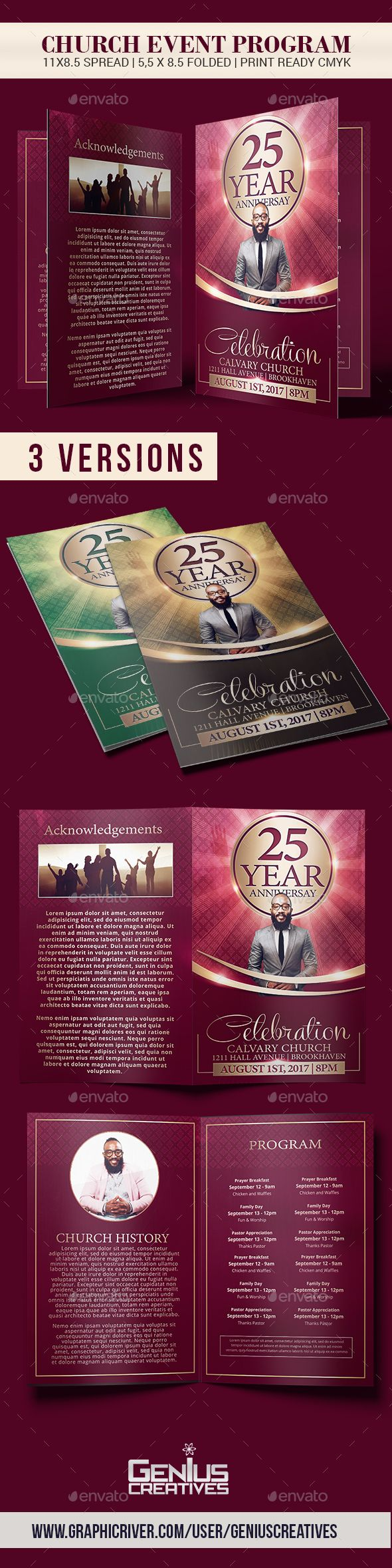 church anniversary brochure template informational brochures