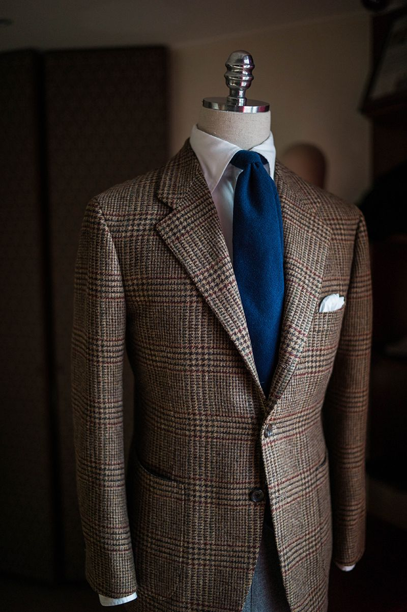 Brown glen plaid sports coat for winter Mens outfits