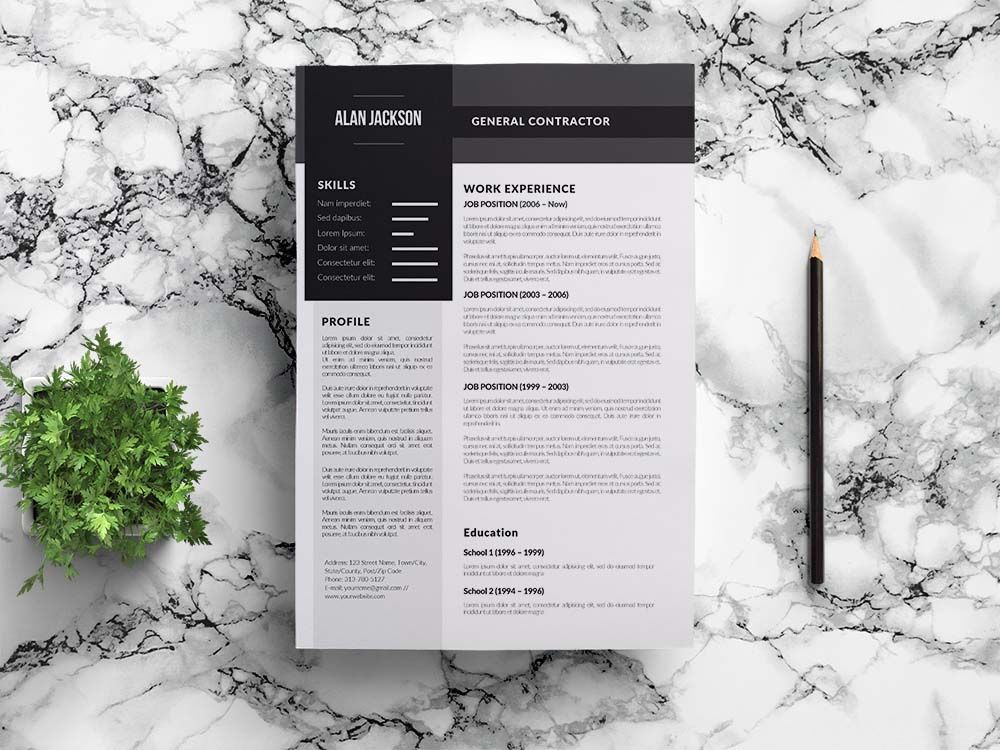 Free general contractor cv resume template in 2020