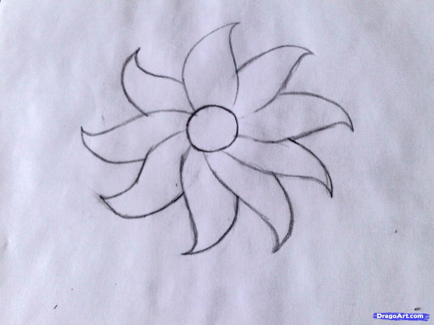 Artistic Simple Flower Drawing On Uncategorized Decor Easy Pictures To Draw Flower Drawing Flower Sketches