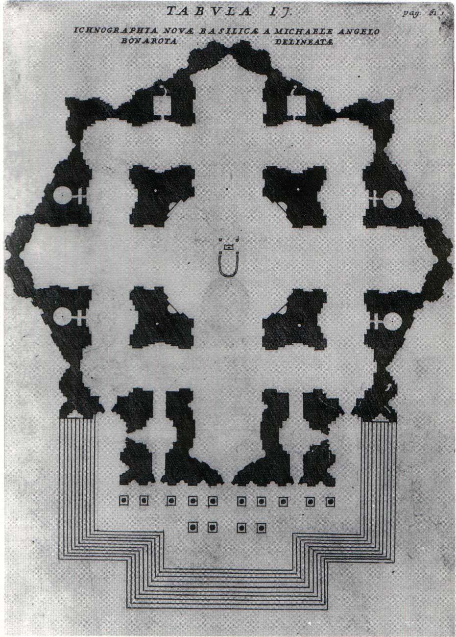 Michelangelo's plan for St Peter's,  published in Filippo Bonanni,   Numismata Pontificum Romanorum Templi Vaticani  Fabbricam indicantia, 2nd edition, Rome 1715, tav 17