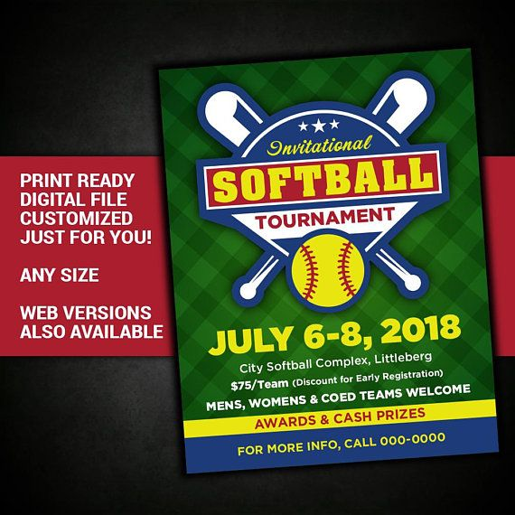 softball tournament flyer softball tryout poster softball game invitation custom digital