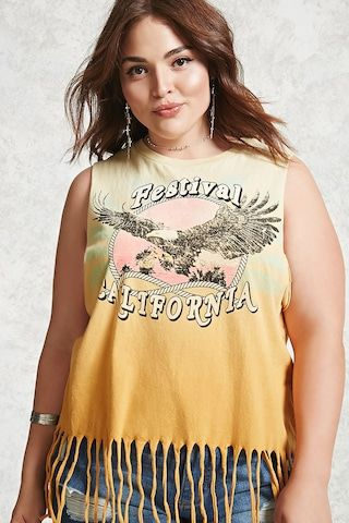 ff6ef25158408 Plus Size Fringe Muscle Tee