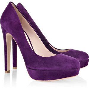 Miu Miu Heels Suede Platform Pumps Shoes Too Big Purple Heels