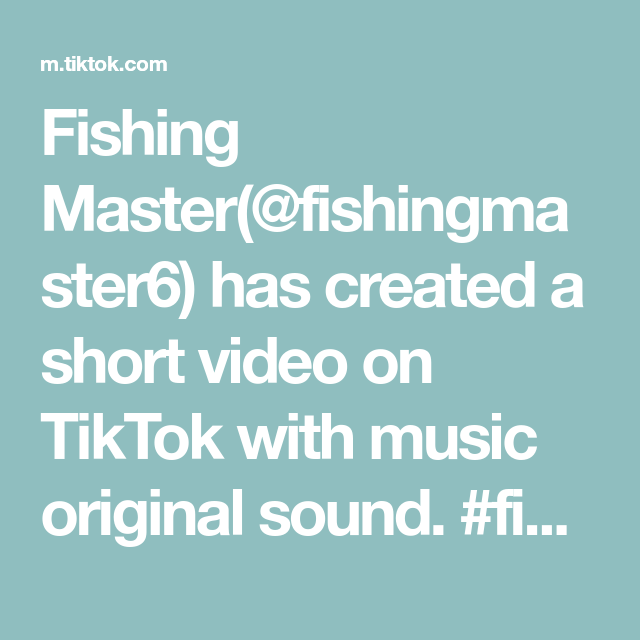 Fishing Master Fishingmaster6 Has Created A Short Video On Tiktok With Music Original Sound Fish Fishing Foryou Music The Originals Bellatrix Lestrange