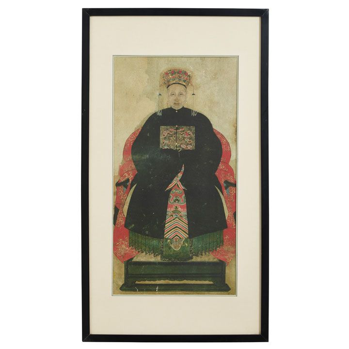 Chinese Ancestor Painting of Grandmother in Black #ChineseWallArt