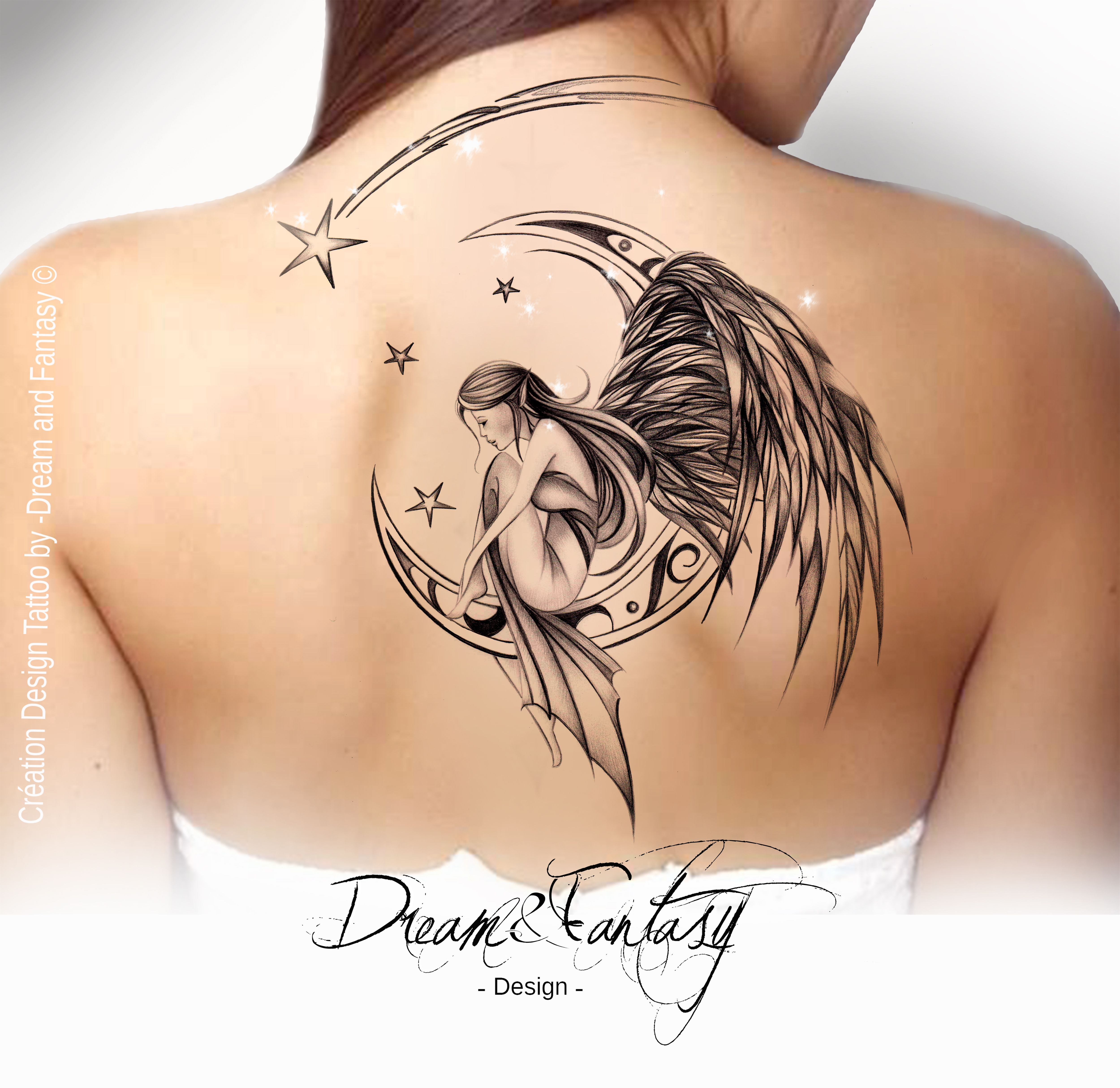 design tattoo f e ange f erie lune tattoos pinterest tattoo tatoo and tatoos. Black Bedroom Furniture Sets. Home Design Ideas