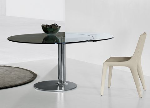Bonaldo Plinto Round Extending Dining Table Extendable Glass Dining Table Dining Table Modern Dining Table
