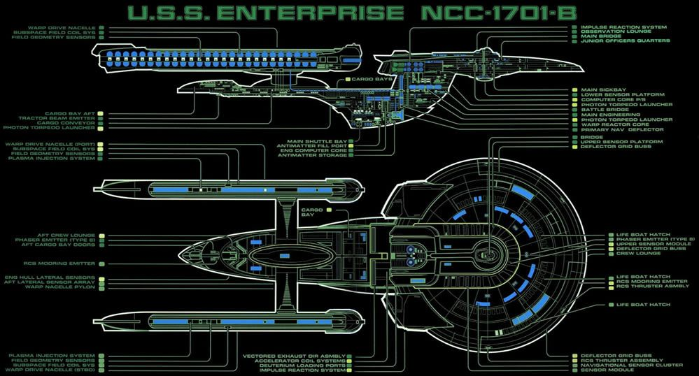 images about star trek  u.s.s. enterprise ncc b on, schematic