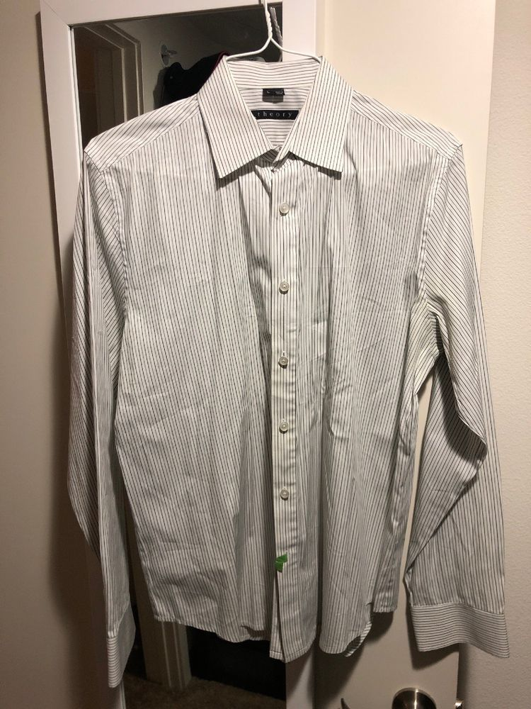 8b1b0551514db Mens Theory White With Grayish blue Stripes Button Down Shirt  fashion   clothing  shoes