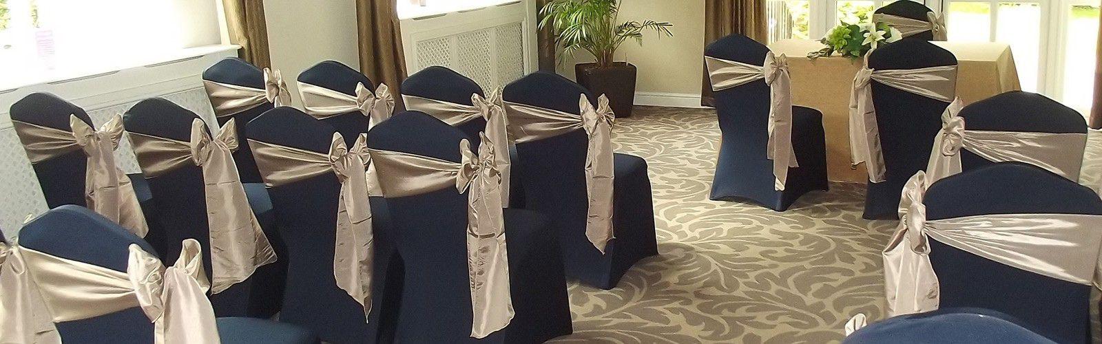 Ceremony Decoration Navy Blue Chair Covers Gold Taffeta Sash
