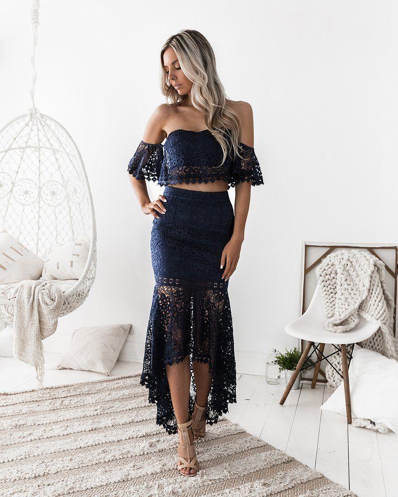 Celine lace set navy mode pinterest celine fishtail skirt
