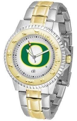 University of Oregon Ducks Men's Two Tone Dress Watch by SunTime. $86.95. Two-Tone Stainless Steel. Officially Licensed Oregon Ducks Men's Two Tone Dress Watch. Gold Ion-Plated Bezel-Date Function. Men. Links Make Watch Adjustable. Oregon Ducks men's two tone gold and stainless steel dress watch. This Ducks timepiece offers men a classic, business-appropriate look. Features a gold ion-plated bezel, stainless steel case and date function. Secures to your wrist with ...