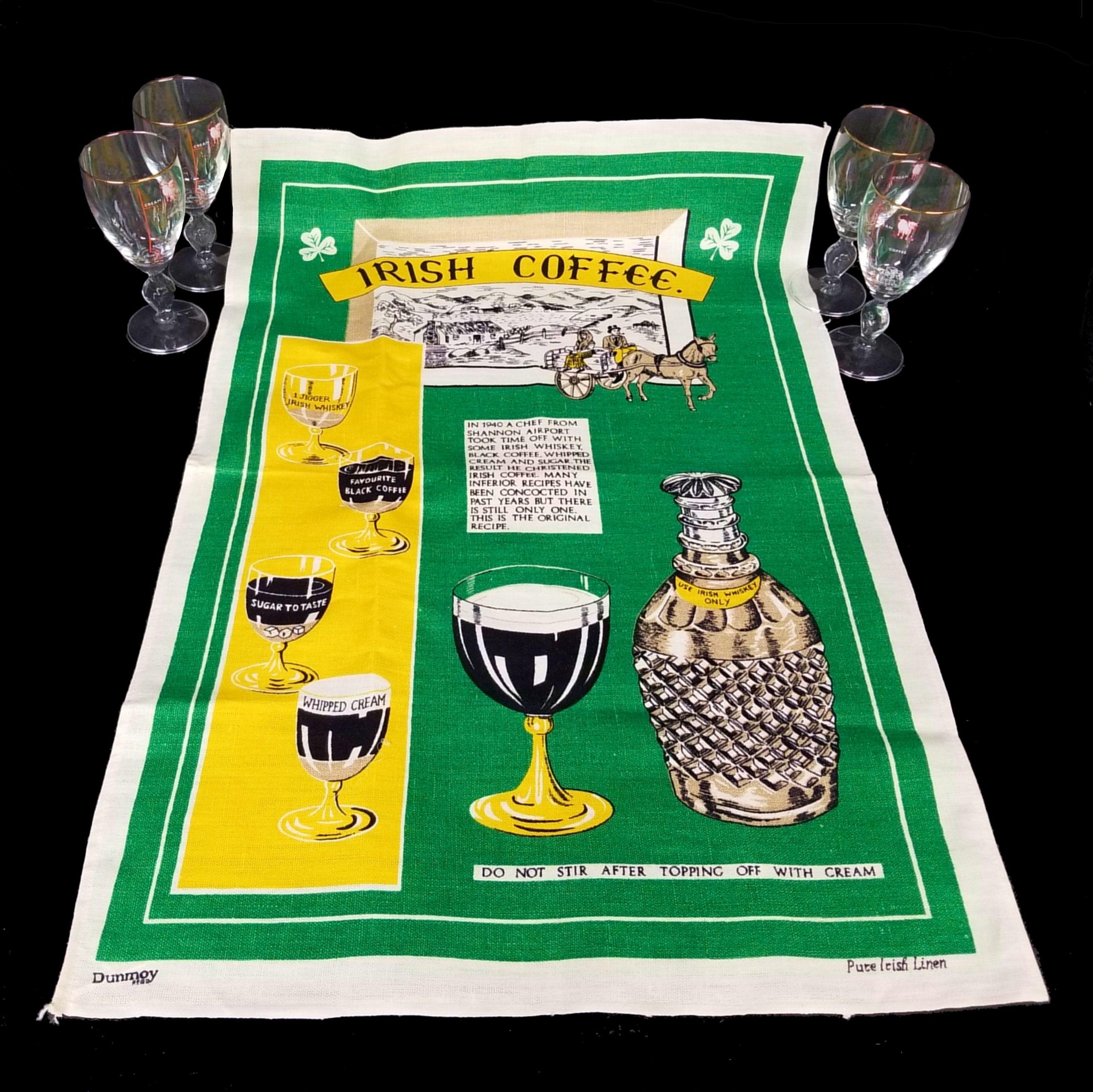 IRISH THEMED GIFT set, 4 vintage Irish coffee glasses and