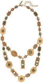 OSCAR DE LA RENTA  24-karat gold-plated geometric necklace